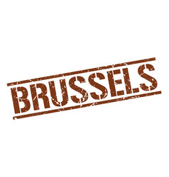 Brussels brown square stamp vector