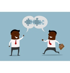 Cartoon businessmen satisfied with cooperation vector image vector image