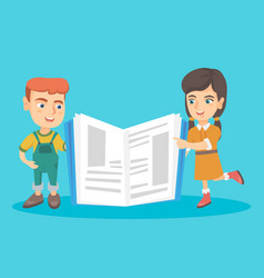 caucasian children standing near a giant book vector image