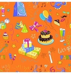 Colored hand-drawn party icon pattern vector