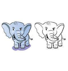 coloring elephant cartoon - coloring book for vector image
