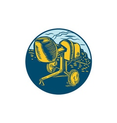 Concrete mixer circle woodcut vector