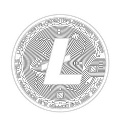 Crypto currency litecoin black and white symbol vector
