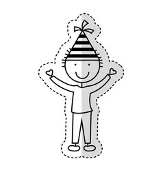 cute little boy with hat party character vector image vector image
