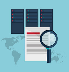 data center document analysis search vector image