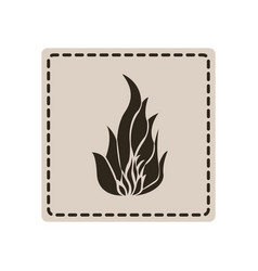 Emblem sticker fire icon vector