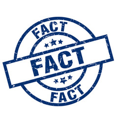 Fact blue round grunge stamp vector