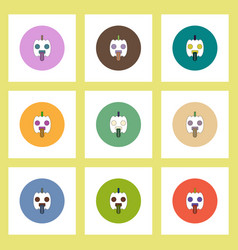 Flat icons halloween set of pumpkin showing tongue vector