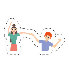 fun couple happy dance vector image