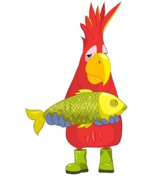Funny Parrot Fisherman vector image vector image