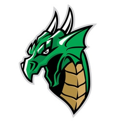 green dragon head mascot vector image vector image