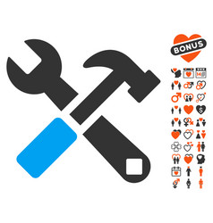 hammer and wrench icon with valentine bonus vector image