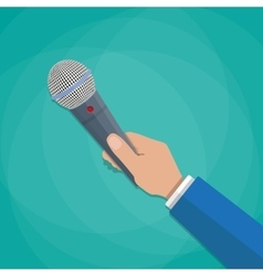 hand holding a microphone vector image