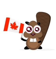 Happy cartoon beaver vector