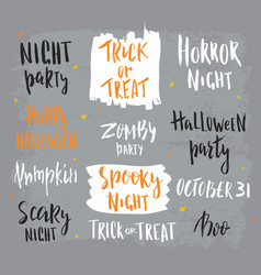 happy halloween lettering hand drawn abstract vector image