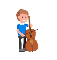 Happy kid playing on contrabass vector image vector image