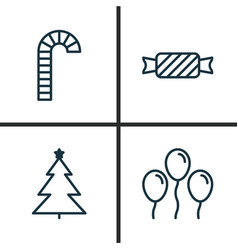 Holiday icons set collection of decorated tree vector