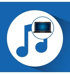 Laptop blue display music social media vector