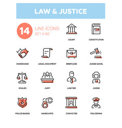 Law and justice - line design icons set vector