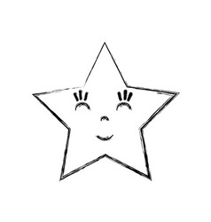 Line kawaii happy and cute star design vector