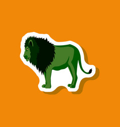 Lion paper sticker on stylish background vector