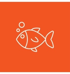Little fish under water line icon vector image