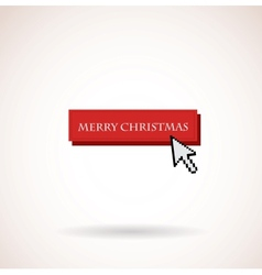 merry christmas button with computer arrow vector image vector image