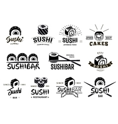 Monochrome japanese food labels set vector