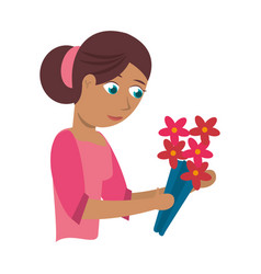 Mother with flower decoration vector