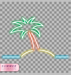 Neon palm tree symbol vector