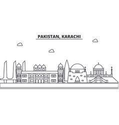 pakistan karachi architecture line skyline vector image