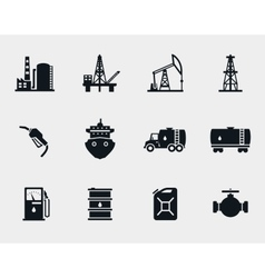 Petroleum and oil icons set vector image vector image