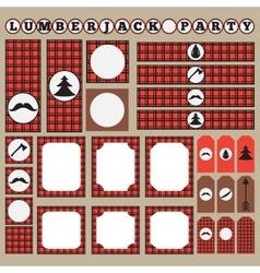 Printable set of vintage lumberjack party elements vector