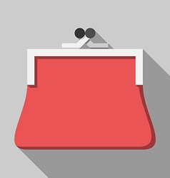Red purse long shadow vector image vector image