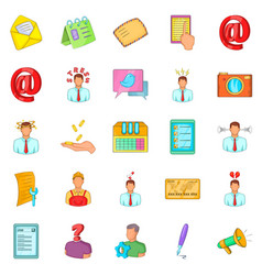 Remote work icons set cartoon style vector