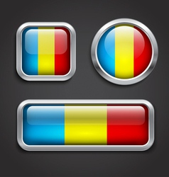 Romania flag glass buttons vector image vector image