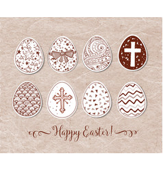 set of hand-drawn ornated easter eggs on vintage vector image