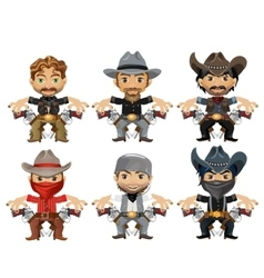 Six men characters in cartoon wild West style vector image vector image