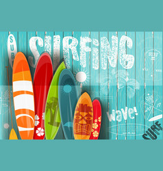 Surfing retro poster on blue wooden background vector