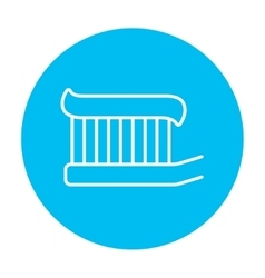 Toothbrush with toothpaste line icon vector image