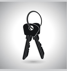 Two keys on hanger black icon vector