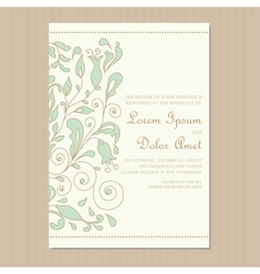 Wedding invitation card with floral element vector
