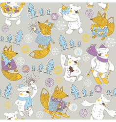 winter bear wallpaper vector image vector image