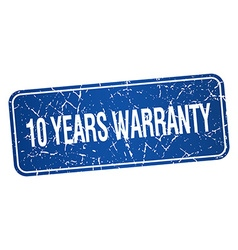 10 years warranty blue square grunge textured vector