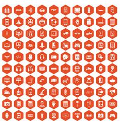 100 adjustment icons hexagon orange vector