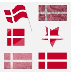 Set with flags of denmark vector