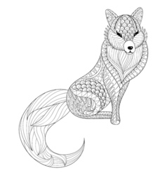 Fox in zentangle style freehand sketch for adult vector