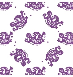 Seamless pattern with lizards tribal vector image
