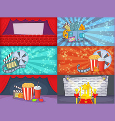 Cinema movie banner set horizontal cartoon style vector