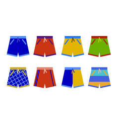Swim shorts collection swimming trunks set icon vector